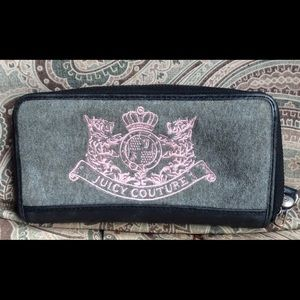 Juicy couture gray suede wallet pink emblem
